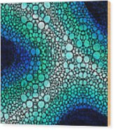 Blue Green Energy - Stone Rock'd Art Panting Wood Print