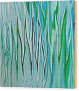 Blue Green Flames Wood Print