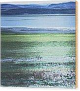 Blue Green Landscape Wood Print