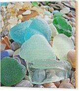 Blue Green Sea Glass Coastal Art Wood Print