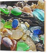 Blue Green Seaglass Art Prinst Agates Shells Wood Print by Baslee Troutman
