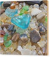 Blue Green Seaglass Coastal Beach Baslee Troutman Wood Print by Baslee Troutman