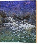 Blue Green Water Wood Print
