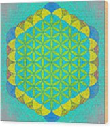 Blue Green Yellow Flower Of Life Wood Print