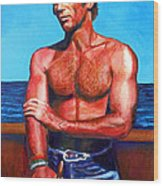 Blue Grotto Boatman Wood Print