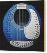 Blue Guitar Baseball White Laces Square Wood Print