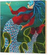Blue Haired Mermaid Wood Print