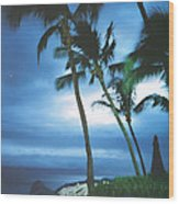 Blue Hawaii With Planets At Night Wood Print by Connie Fox