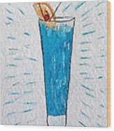 Blue Hawaiian Cocktail Wood Print