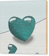 Blue Hearts Wood Print