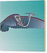 Blue Heron Flight Wood Print