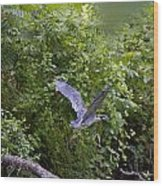 Blue Heron Journey I Wood Print