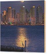 Blue Heron Moon Wood Print