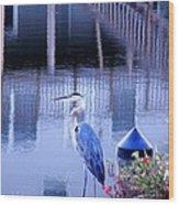 Blue Heron Reflections Wood Print