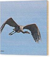 Blue Herons Last Fly By Wood Print