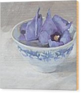 Blue Hibiscus Flower In Chinese Cup Wood Print by Anke Classen