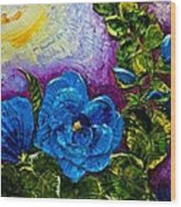 Blue Hollyhocks Wood Print
