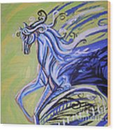 Blue Horse Wood Print by Genevieve Esson