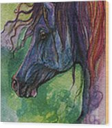 Blue Horse With Red Mane Wood Print
