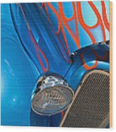 Blue Hot Rod Wood Print