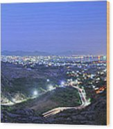 Blue Hour Ajmer City Panorama Wood Print
