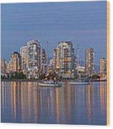 Blue Hour At False Creek Vancouver Bc Canada Wood Print