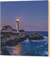 Blue Hour At Portland Head Lighthouse Wood Print