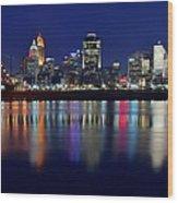 Blue Hour In Cincinnati Wood Print