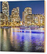 Blue Hour In Vancouver Wood Print