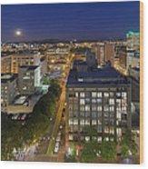 Blue Hour Moonrise II Over City Of Portland Oregon Wood Print