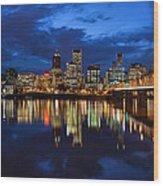 Blue Hour Reflection II Wood Print