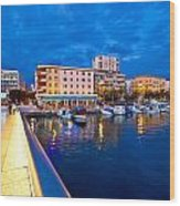 Blue Hour Zadar Waterfront View Wood Print