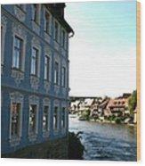 Blue House - Bamberg Wood Print