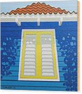 Blue House Wood Print
