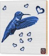 Blue Hummingbird - 2055 F S M Wood Print