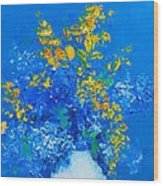 Blue Hydrangeas And Golden Chain Flowers Wood Print