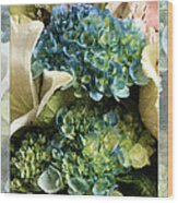 Blue Hydrangeas Painterly Wood Print
