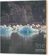 Blue Ice Flows Wood Print