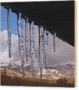 Blue Ice Wood Print by Rona Black
