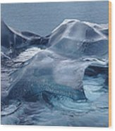 Blue Ice Sculpture Wood Print