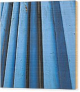 Blue Industrial Pipes Wood Print