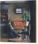 Blue Interior Wood Print