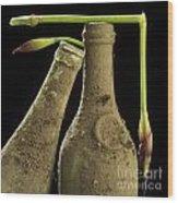 Blue Iris And Old Bottles Wood Print