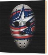 Blue Jackets Goalie Mask Wood Print
