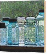 Blue Jars Wood Print