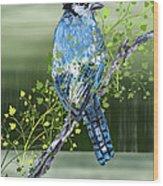 Blue Jay Mixed Media Wood Print