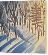 Blue Jay Winter Wood Print