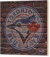Blue Jays Baseball Graffiti On Brick  Wood Print by Movie Poster Prints