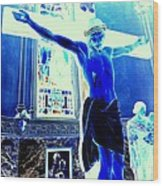 Blue Jesus Wood Print