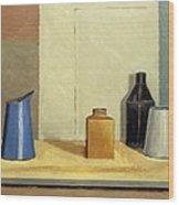 Blue Jug Alone Wood Print